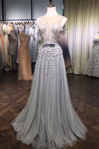 silver prom dresses, sleeveless prom dress, elegant prom dresses, robe de soiree, vestido de festa de longo, sparkly prom dresses, beaded prom dresses, 2021 prom dress P4396