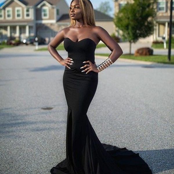 Sweetheart Mermaid Formal Dress, Black Evening Dress, Long Tight Prom Dress P4712