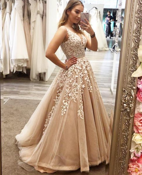 Long Princess Prom Dress, Champagne Prom Dress, V-Neck Sleeveless Prom Dress with Appliques P4735