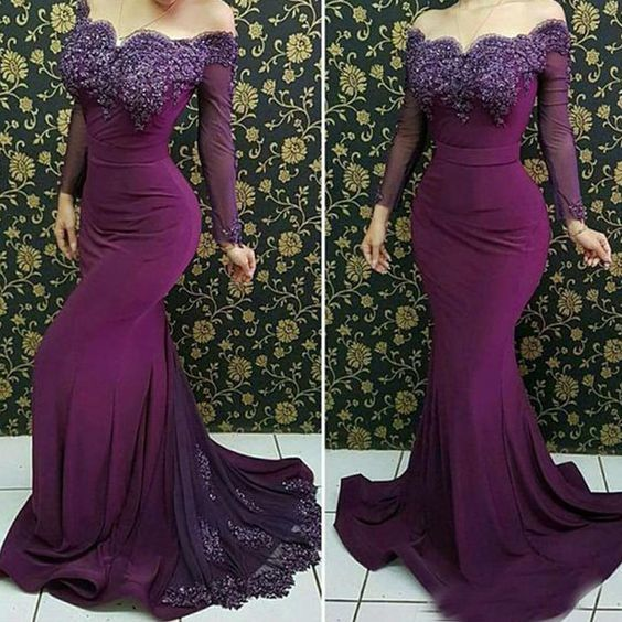 purple prom dresses long sleeve mermaid lace appliques beading pearls evening dresses P4887