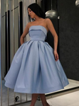 Simple Tea Length Light Blue Prom Dresses Strapless Homecoming Dress P5027