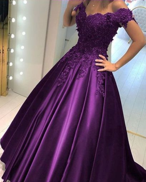 Purple Prom Dress Off the Shoulder Straps, Long Homecoming Dress, Graduation Dress, Back To School Party Dresses P5063