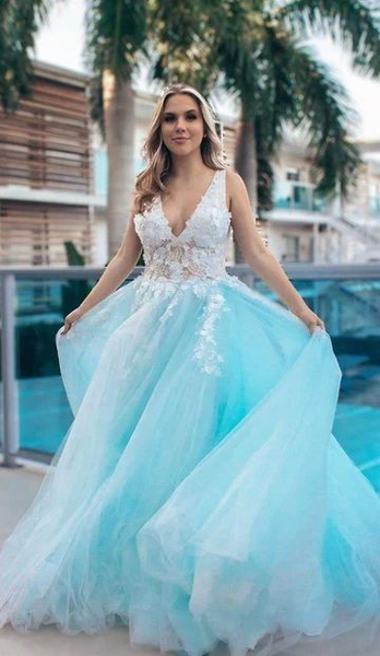 sexy deep v neck formal dress light blue prom dress P5071