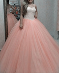Coral tulle quinceanera dresses princess prom dress P5324