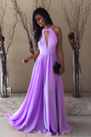 Lilac Bridesmaid Dresses Long Halter Formal Gown For Summer Weddings P5645