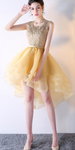 High-low Homecoming Dresses, Yellow Homecoming Dresses P5706