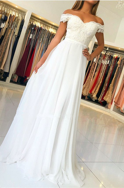white bridesmaid dresses long formal gown lace off the shoulder P5713
