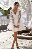 white homecoming dresses lace appliques v neck long sleeves party gown for senior prom P5714