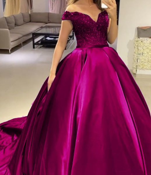 fuchsia prom dresses ball gown off the shoulder quinceanera dress P5793