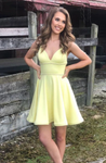 yellow short prom dress yellow homecoming dress P5801