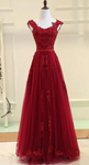 Red Tulle Pretty Prom Dress , V-neckline Formal Gown with Lace-up, New Style Prom Dress P5843