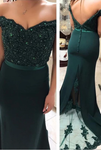 Off The Shoulder Evening Gowns,Mermaid Prom Dresses,Emerald Green Prom Dresses P5845