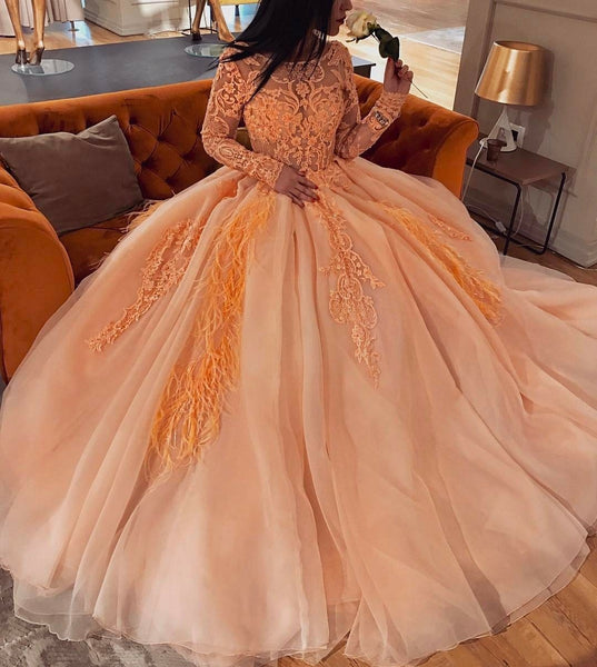 Tulle Quinceanera Dress, Charming Ball Gown Lace Prom Dress P6022