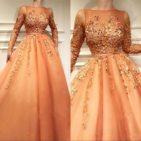 Tulle Quinceanera Dress, Charming Long Sleeves Lace Prom Dress P6024