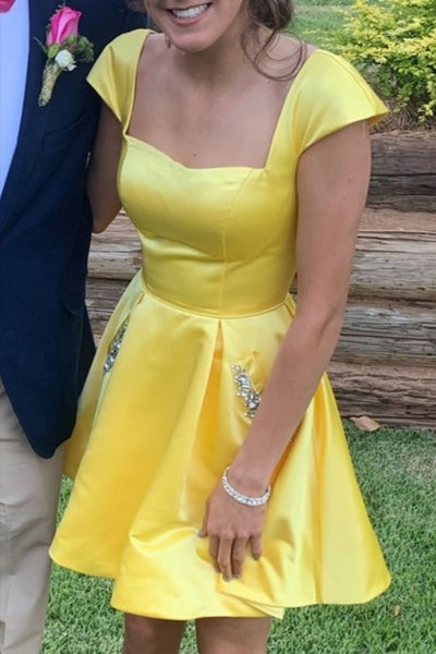 square neckline short yellow homecoming dress with cap sleeves P6084