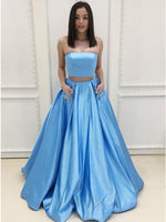Two Piece Strapless Sweep Train Light Blue Prom Dress with Pockets Beading P6141