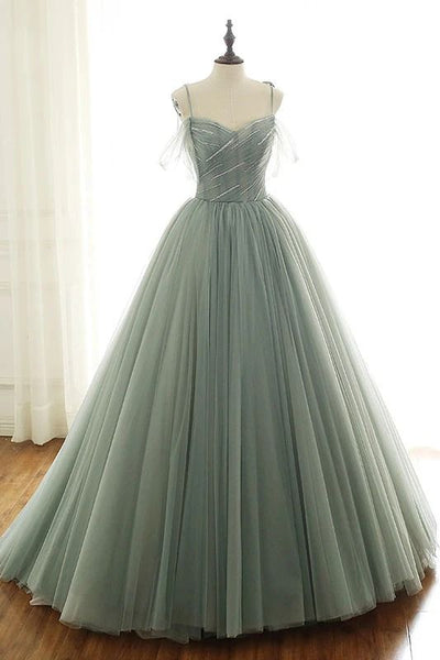 sage green tulle long ball gown with spaghetti straps, sage green sweet 16 dress prom gown P6154