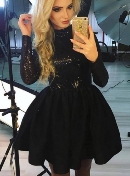 A-Line Jewel Long Sleeves Black Homecoming Dress with Sequin P6173