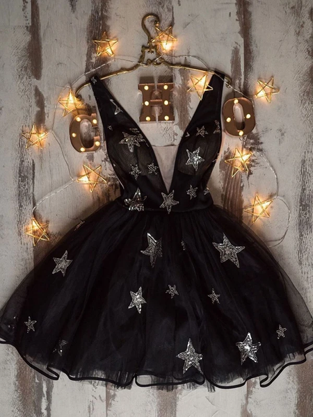 Black v neck tulle short prom dress black homecoming dress P6217