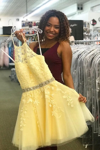 A-line short yellow homecoming dress Bella Dress with Beaded Belt P6280