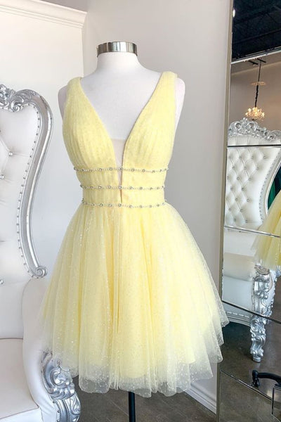 pluning A-line short yellow homecoming dress with 3 bands P6288