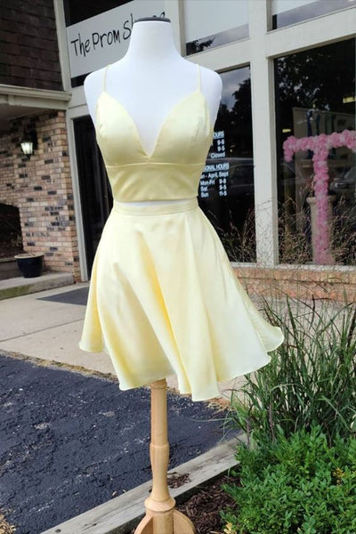 two piece short yellow homecoming dress with spaghetti straps P6295