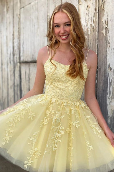 short A-line yellow homecoming dress with spaghetti straps P6296