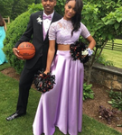Purple Prom Dress with Lace,Two Pieces Prom Dress with Short Sleeve P6446