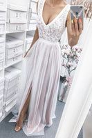 tulle lace long white prom dress  P6486