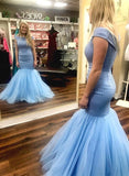 Light Blue Prom Dress,Mermaid Evening Dresses,Off the Shoulder Prom Dresses,Sparkly Prom Gown P6609