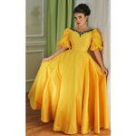 Yellow Prom Dresses Ball Gown Appliques  Floor-Length / Long Formal Dresses P6705
