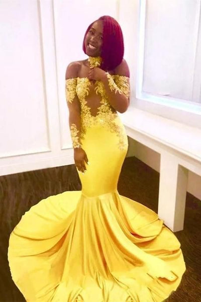 Yellow Prom Dresses Mermaid Appliques  Floor-Length Off The Shoulder Long Formal Dresses P6706