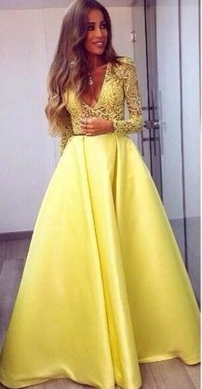 Yellow Prom Dresses Appliques  Floor-Length Long Sleeves Formal Dresses P6707