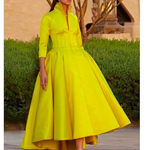 yellow prom dresses 2021 high neck long sleeve satin high front and low back long evening dresses gowns P6708