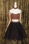 Black two pieces beads tulle short prom dress black homecoming dress P6803