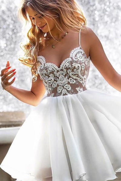 Scalloped-Edge Lace Appliques White Homecoming Dress P6887
