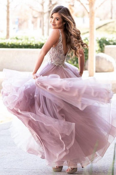 Cascading Ruffles Floor Length Tulle Prom Dress P6904