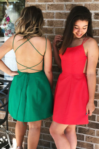 Short Homecoming Dress, Green Homecoming Dress, Red Homecoming Dress P6914