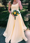 A-line Straps Long Yellow Prom Dress P6949