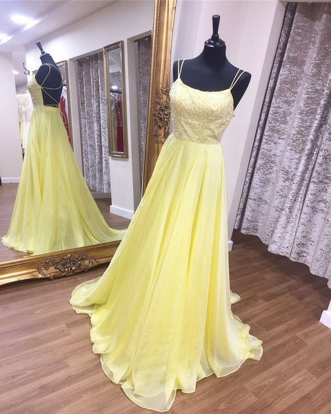 Spaghetti Straps Backless Beaded Long Yellow Prom Dress P6959