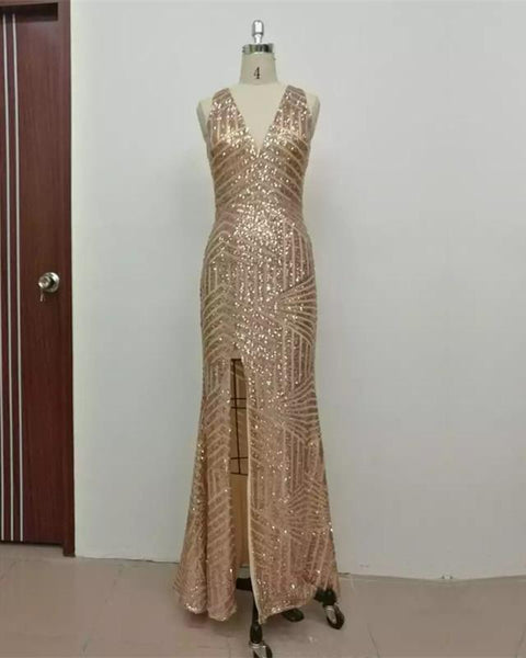 Mermaid V-Neck Sequins Long Gold Prom Dress with Slit P6972