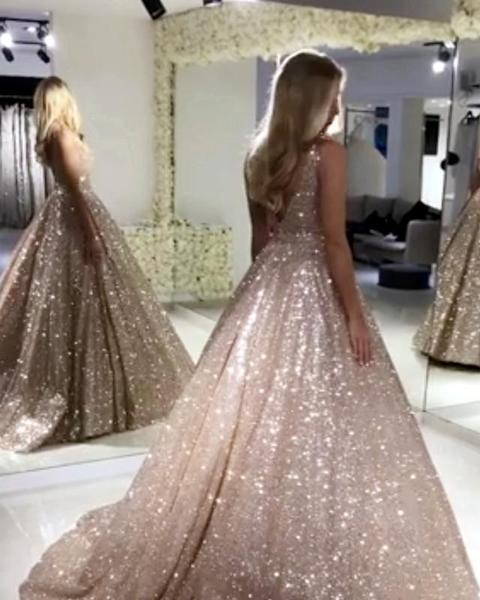 Princess Ball Gown Sequins Floor Length Gold Prom Dress P6993
