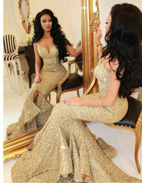 Gorgeous Mermaid Sequins Long Gold Prom Dress P6994