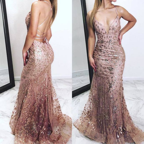 Spaghetti Straps Mermaid Backless Rose Gold Prom Dresses Evening Dress P7033