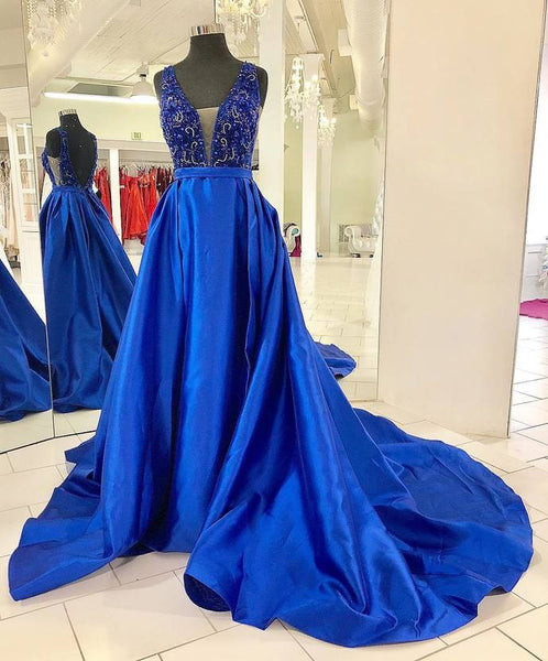 Backless Lace Top Beading Royal Blue Prom Dress with Train P7043