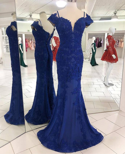 Mermaid Lace Royal Blue Prom Dress with Train P7051