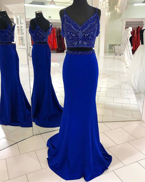 Two Piece Mermaid Beading Royal Blue Prom Dress P7053