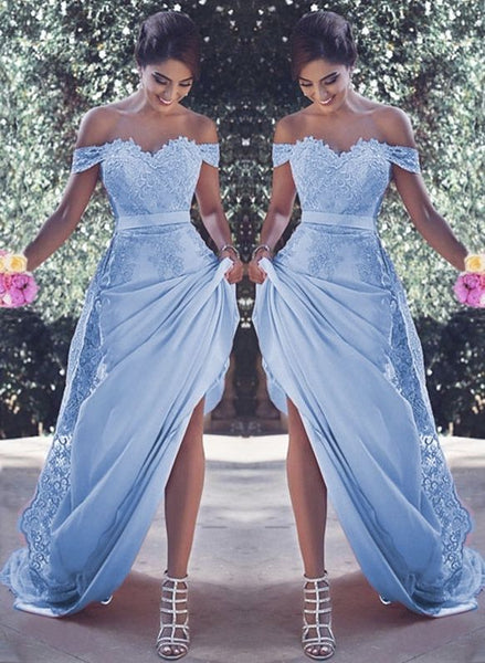 light blue prom dresses mermaid appliques evening gown lace appliques P7064