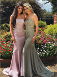 Fancy Sparkle Spaghetti Straps Mermaid Prom Dress with Train Criss Cross Back P7120