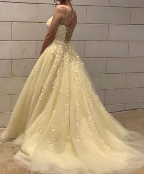 A-Line Tulle Prom Dresses Appliques yellow Prom Dress P7131